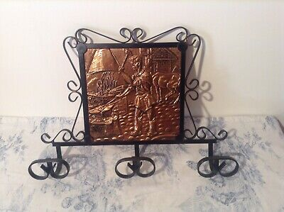 Vintage French Wrought Iron Hat & Coat Hooks with Copper Plaque (3547)