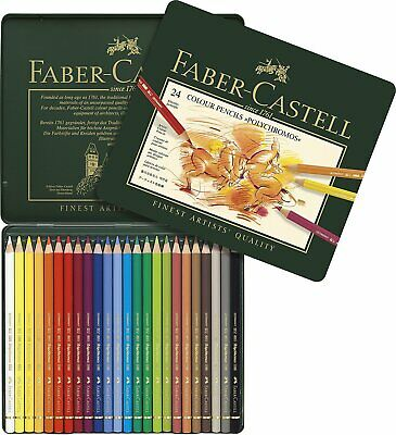 Faber Castell Color Pencil - Polychromos Artist Quality Tin Set of 24 - New
