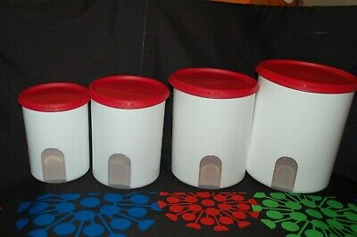 Tupperware one touch CANISTER set 4pc 17.5, 12, 8 & 5 cup reminder windows RED