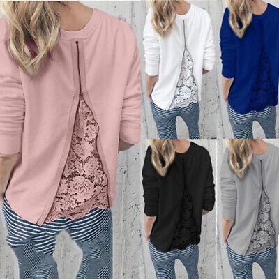 Women Lace Patchwork Blouse Long Sleeve O-Neck Zipper Casual Slim Top W