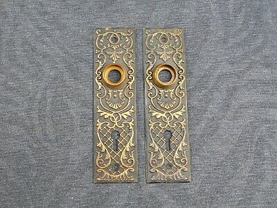 """2 Matching Antique Eastlake Style Door Plate Escutcheon Covers 1-9/16"""" - 5-11/16"""
