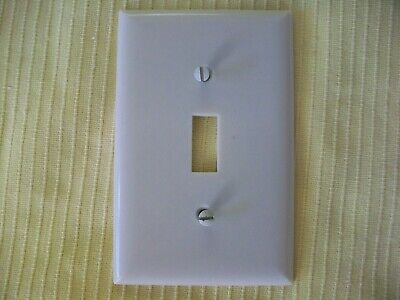 Lg Smooth Ivory Switch Plate Wall Cover W Screws 1 Gang Single Toggle Plastc Elc