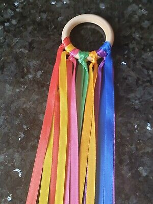 Handmade Baby Sensory Rainbow Ribbon Natural 7cm BeechWood Ring SEN Girls /& Boys