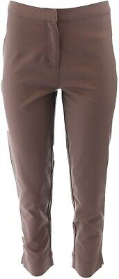 Dennis Basso Womens Stretch Woven Crop Pants Zip Chocolate Brown 4 NEW A278235