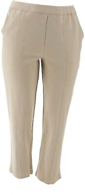 Du Jour Pull-On Ponte Knit Ankle Pants Front Slit Poppy Red XL NEW A303284