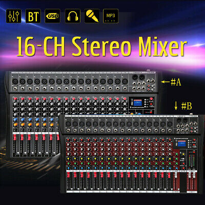 16 Channel Professional Music Stereo Mixer USB Power Mixing Console Amp +
