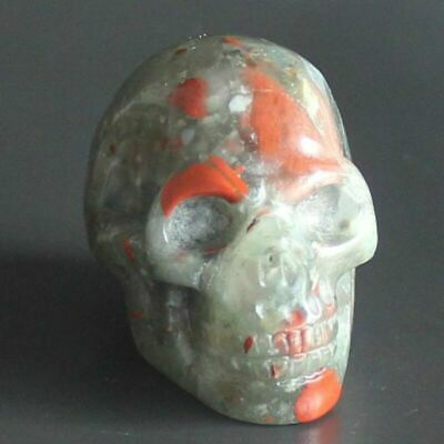 h42027  1.5'' Hand carved blood stone skull figurine   carving