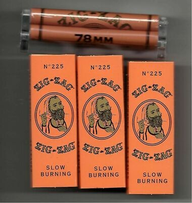 Zig Zag 78 Mm 1 1/4 Size Cigarette Rolling Machine With 3 Packs Orange Papers