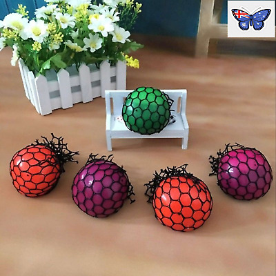 Novelty Anti-Stress Squishy Mesh Ball Grape Squeeze Sensory Fruity Toys Random