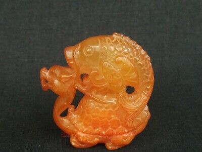Collection Antique Chinese Jade Hand Carving Dragon Turtle Fish Amulet Pendant