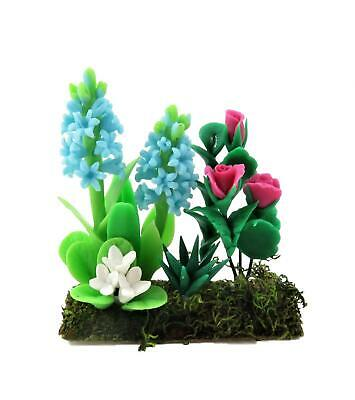 Dolls House Blue Hyacinths & Roses Flowers in Ground Soil Grass Garden Accessory