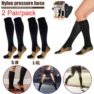 2 pairs Miracle Copper Compression Socks For Adult Unisex Anti Fatigue Comfort