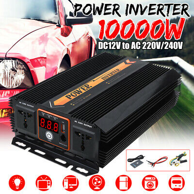 10000W Peak Power Inverter DC 12V TO AC 110V/220V Sine Wave USB Battery Charge