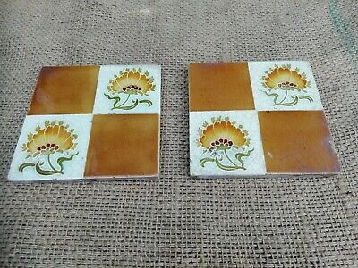 "Antique Pair Minton Tiles Victorian Reclaimed 6"" By 6"" Chrysanthemum Flower"