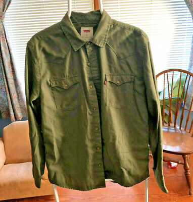 Mens Levis Long Sleeve Button Down Two Pocket Shirt Green Size Medium
