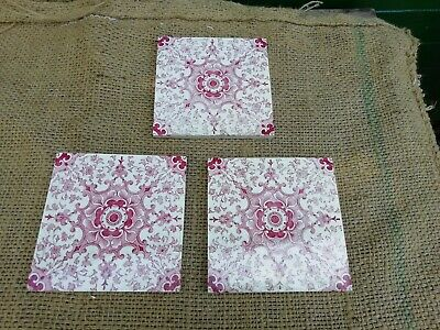 "Antique Victorian Decorative Tiles Reclaimed X 3 Original Salvage 6"" By 6"""