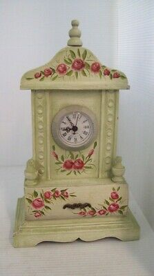 Wooden Floral Roses Mantel Clock with Quartz Movement and Storage Drawer