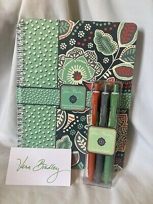 Vera Bradley Mini Notebook With Pocket & Click Pens Set NOMADIC FLORAL NWT RARE