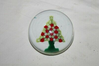 Vintage Art Glass Blown Murano Red and Green Flower tree Paperweight
