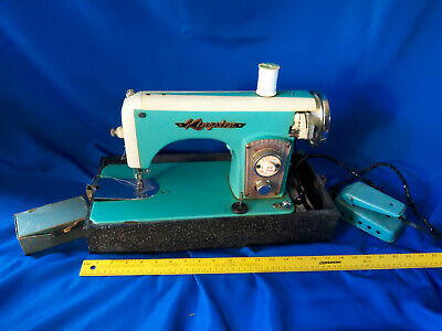 Mid Century Modern Turquoise Sewing Machine Brother Kingston Heavy Duty VTG MCM