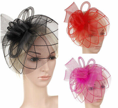 UK Feather Flower Headband AliceBand Fascinator Wedding Race Royal Ascot H06