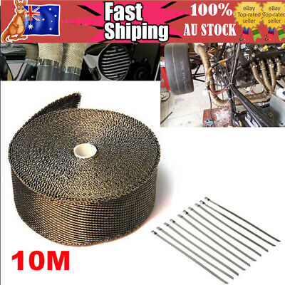 Au Car Exhaust Heat Wrap Titanium 10Mx50Mm Roll+10 Stainless Ties Insulation