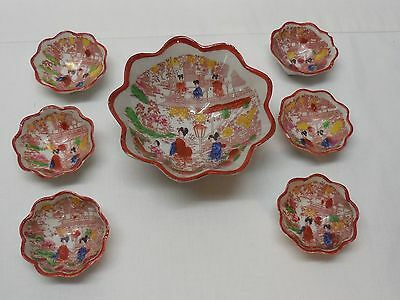 Japanese Large Footed Bowl and 6 Small Footed Bowls Hand Painted Vintage