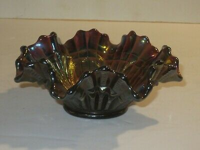 Northwood Blue Green Amethyst Gold Carnival Glass Peacock Feather Fluted Bowl