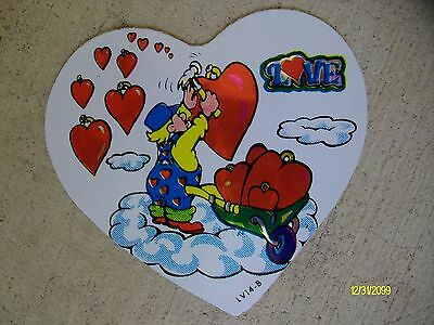 Vintage 1980's LOVE Hanging Hearts in The Clouds Vending Machine Sticker