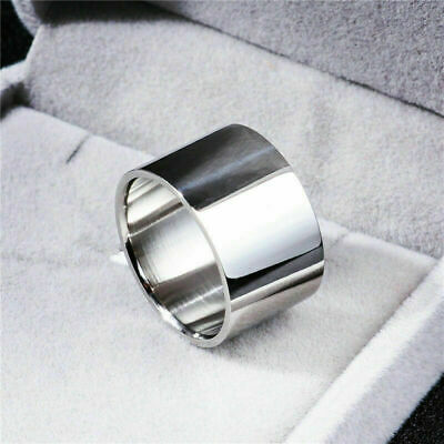 Mens 14mm/18mm Silver Wide Band 316L Stainless Steel Jewelry Ring Gift Size 6-14