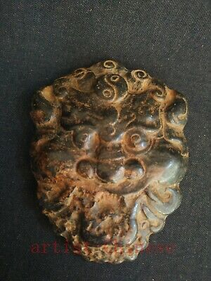Collect Chinese Old Hongshan Culture Jade Carving Lion Head Black Magnet Pendant