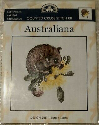 CROSS STITCH KIT - AUSTRALIANA BABY POSSUM - 15 x 15cm - NEW