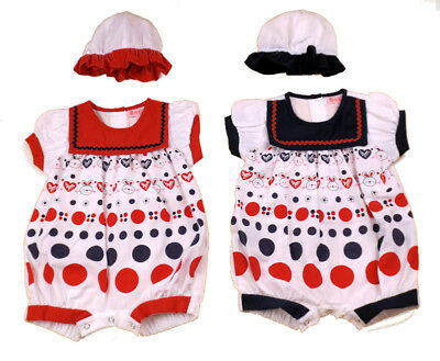 """SPANISH STYLE BABY GIRL """"BUNNY & HEARTS"""" ROMPER - RED / NAVY - 0-3, 3-6, 6-9m"""