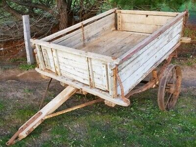 Antique wooden horse drawn trailer buggy wagon