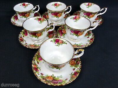6 Old Country Roses Tea Cups & Saucers, 1962-73, Made In England, Royal Albert