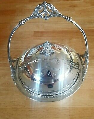 Beautiful antique Victorian  silverplate butter dish