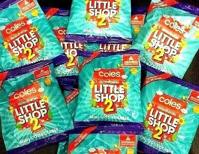 Coles Little Shop Mini Collectables 2 ~ 15 UNOPENED MINIS ~ ??  GOLD TROLLEY ??