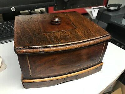 Antique Vintage Wooden Sewing Store Box Green Velvet Lining Hinged Lid Inlaid