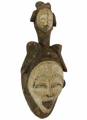 Punu Maiden Spirit Mask Two Faces Mukudji Gabon African Art SALE WAS $450.00