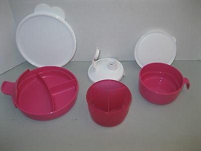 TUPPERWARE ~ STAGES BABY FEEDING SET divided dish formula dispenser ~ PINK ~ NEW