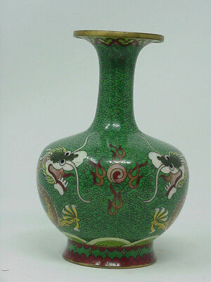 Vintage Chinese Cloisonne Vase  5 Clawed Imperial Dragons Chasing Flaming Pearl
