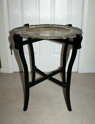 Antique Victorian Folding Table with Brass Tray for Restoration - Chinese/Dragon