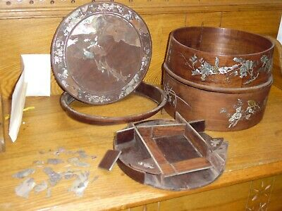 ROUGH Antique Qing Chinese Mother Of Pearl Inlay Circular Wood Box w/ Tray AS IS