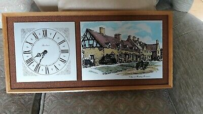 VINTAGE CLOCK AND PICTURE  Etched  Steel  Framed On Hessian Good condition.