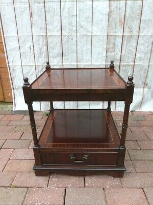 Lovely Vintage Inlaid Mahogany Two Tier Side Table With Drawer.