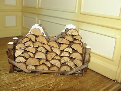 Dollhouse Miniature Stack of Snow Covered Wood Logs
