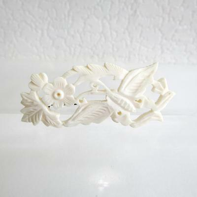 Vintage Oriental Carved  Brooch