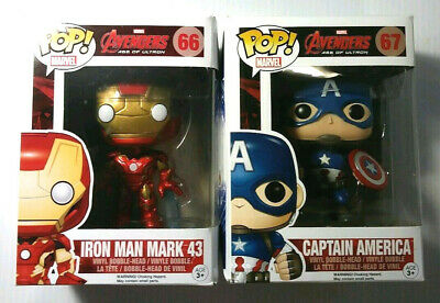 Lot Of 2 FUNKO POP Marvel Avengers IRON MAN 66 / CAPTAIN AMERICA 67 = New Boxed!