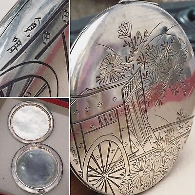 Japanese 950 Sterling Silver Etched Art Large Compact 3.8 Oz Asian Antique