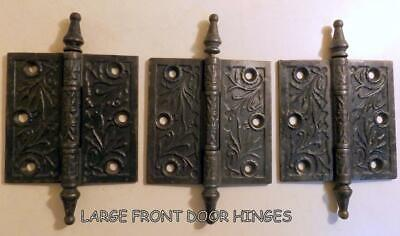 "3 Large 4x4"" Ornate Antique Victorian Cast Iron Front Door Hinges c1880s"